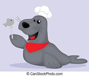 Cute cartoon seal chef