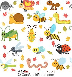 Cute cartoon seamless pattern with insects and leaves. Funny background for children