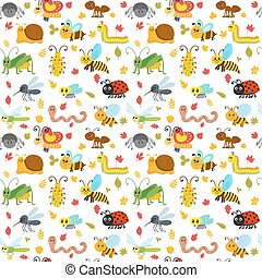 Cute cartoon seamless pattern with insects and leaves