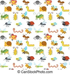 Cute cartoon seamless pattern with insects. Funny background for children