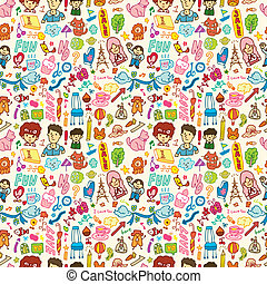 cute cartoon seamless pattern,vecto