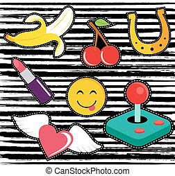 Cute cartoon set of patches or stickers