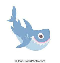 Cute cartoon shark, vector illustration, isolated on white.