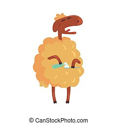 Cute cartoon sheep holding a toothbrush and a toothpaste colorful character, animal grooming vector Illustration