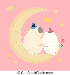 Cute cartoon sheep in love on the moon. Vector illustration