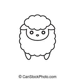 Cute cartoon sheep, line icon
