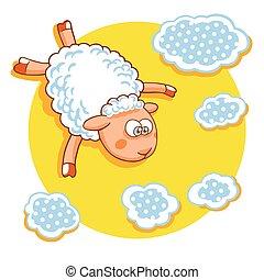 Cute cartoon sheep vector illustration.