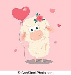 Cute cartoon sheep with a balloon. Vector illustration