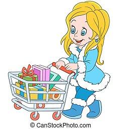 cute cartoon shopaholic girl sale