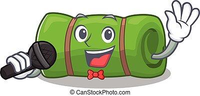 Cute cartoon Singing camping mat Scroll with a microphone....
