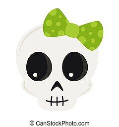 cute cartoon skull isolated on white background
