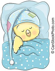 Sleeping Chicken - Cute Cartoon Sleeping Chicken with a cap ...