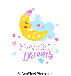 Cute cartoon sleeping crescent and cloud. Sweet dreams colorful hand drawn vector Illustration