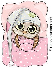 Sleeping Owl - Cute Cartoon Sleeping Owl with a hood in a...