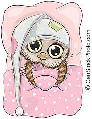 Sleeping Owl - Cute Cartoon Sleeping Owl with a hood in a ...
