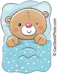 Cute Cartoon Sleeping Teddy Bear
