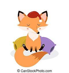 Cute cartoon sleepy fox on the pillows.