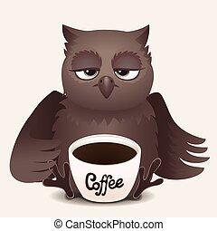 Cute cartoon sleepy owl with cup of coffee