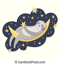 Cute cartoon sloth sleeping on the moon.
