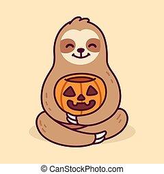 Cute cartoon sloth with Halloween pumpkin