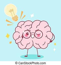 cute cartoon smart brain