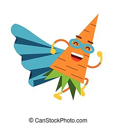 Cute cartoon smiling carrot superhero in mask and blue cape, colorful humanized vegetable character vector Illustration