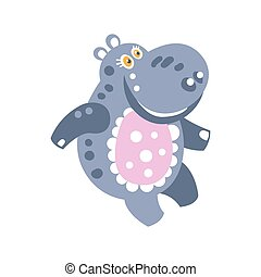 Cute cartoon smiling Hippo character vector Illustration