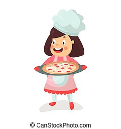 Cute cartoon smiling little girl chef character holding a pizza in a cooking tray vector Illustration