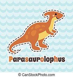 Cute cartoon smiling parasaurolophus on blue wave background.