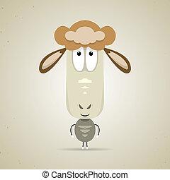 Cute cartoon smiling sheep standing facing the camera -...