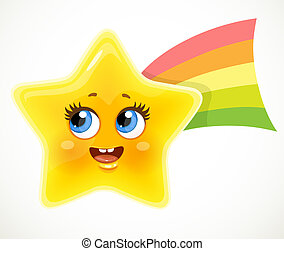 Cute cartoon smiling star with colored rainbow tail isolated on white background