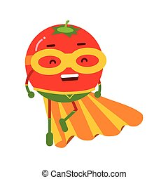 Cute cartoon smiling tomato superhero in mask and yellow cape, colorful humanized vegetable character vector Illustration
