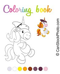 Cute cartoon smiling unicorn coloring book page