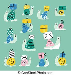 Cute cartoon snail mail, vector collection