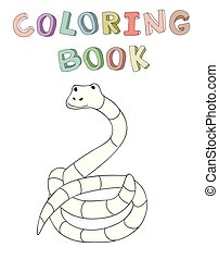 Cute cartoon snake character, contour vector illustration for coloring book in simple style.
