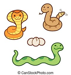 Cute cartoon snakes set