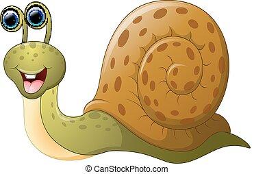 cute, cartoon, snegl