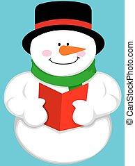 Cute cartoon snowman