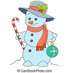 cute cartoon snowman - cute and happy cartoon christmas...