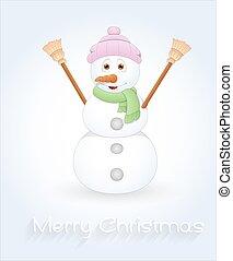 Cute Cartoon Snowman Vector