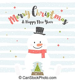 Cute cartoon snowman with snow globe. Christmas greeting card. Vector illustration.