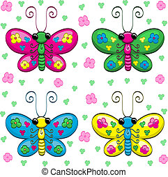 cute, cartoon, sommerfugle