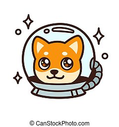 Cute cartoon space dog