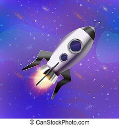 Cartoon space rocket on deep space background