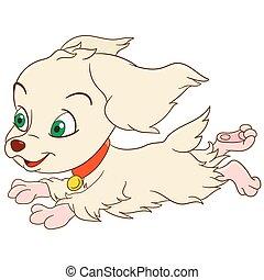 cute cartoon spaniel - cute and happy cartoon girlish...