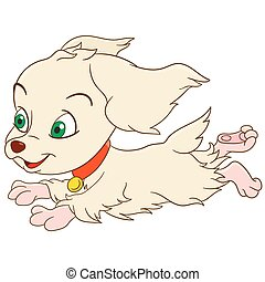 cute cartoon spaniel - cute and happy cartoon girlish...