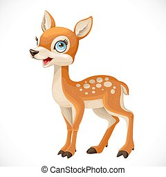 Cute cartoon spotted fallow deer isolated on a white background