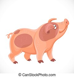 Cute cartoon spotted pig pulled up the face up farm animal ...