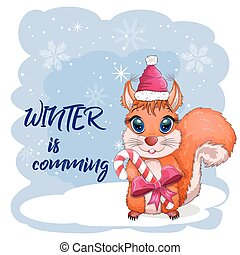 Cute cartoon squirrel with beautiful eyes in a Santa Claus hat with a Christmas gift, candy cane
