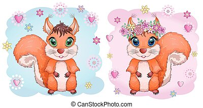 Cute cartoon squirrel with beautiful eyes on a background of flowers and butterflies.